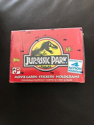 Vintage 1992 Topps Jurassic Park Movie Trading Cards Factory Sealed Box 36 Packs