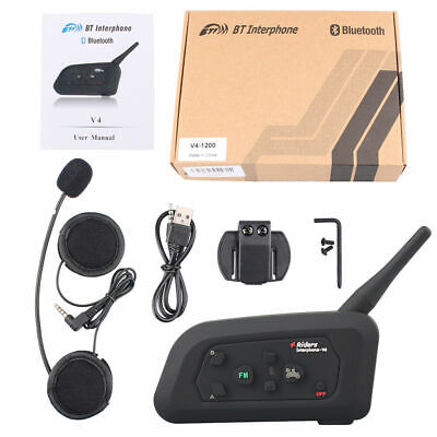 Motorrad Headset Bluetooth Intercom Helm Gegensprechanlage Sprechanlage 1200M V4