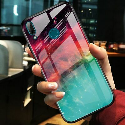 For Xiaomi Redmi Note 7 Pro, Luxury Hybrid Glass Shell Case Soft Bumper Cover