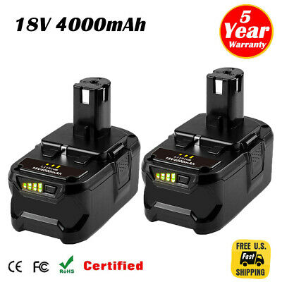 2XFor Ryobi P108 18V 4.0Ah Lithium Ion Battery Pack Replaces P122 P105 P103 P102