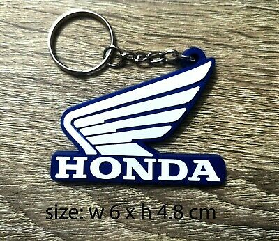 HONDA Rubber Wing Blue Motorcycle Wing Keychain / Keyring Collectables Gift
