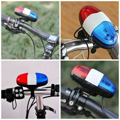 Hot Bike Bicycle 4 Sounds Police Siren Trumpet Horn Bell 6 LED Rear Light #HD3