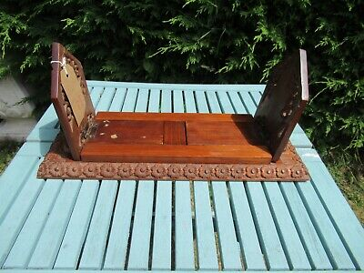 Vintage WOODEN RUSTIC very heverly carved sliding book shelf