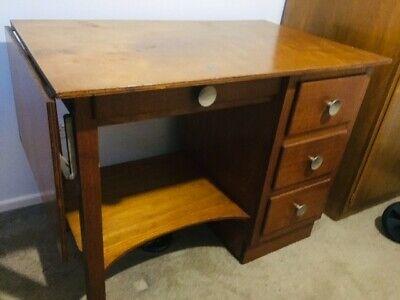 Retro vintage mid century modern teak wooden timber desk with drawers