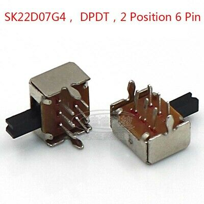 ON-OFF DPDT 2 Position 6 Pin PCB Panel Mini Horizontal Slide Switch 4mm Handle