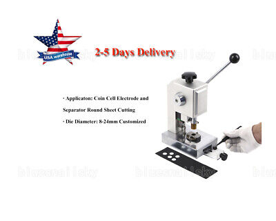 US Precision Coin Cell Disc Cutter with 8-24mm Optional Cutting Die