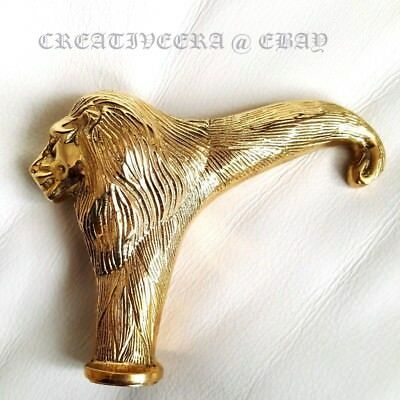 Vintage Brass Lion Head Handle for Antique Designer Wooden Walking Stick Cane