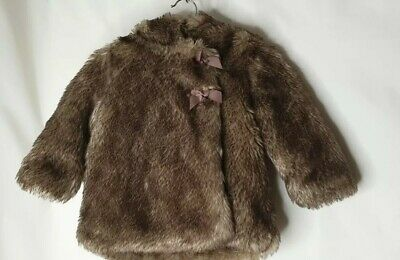 La Redoute Brown Faux Fur Hooded Coat Jacket Age 9 Months Cosy Warm Winter