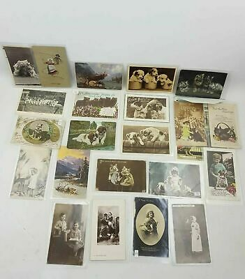 23x 1910-1930s Vintage Postcards Job Lot Birthday Dogs Cats Children Some RP