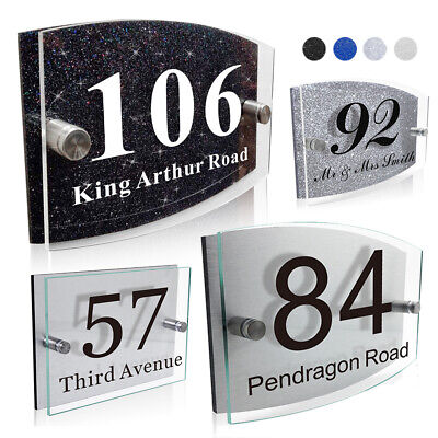 Modern House Sign Plaques Door Number Glass Effect Acrylic Aluminium or Glitter