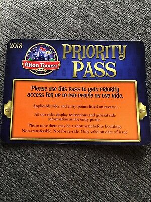 Alton Towers Priority Pass - Fast Track X 1 (For 2 People)