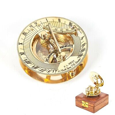 """Maritime Nautical Vintage Style Sundial Polished Brass Compass 3"""" + Wooden Box"""