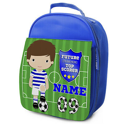Personalised FOOTBALL Lunch Bag Boys Children School Nursery Box - ANY TEAM KF04