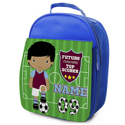 Personalised FOOTBALL Lunch Bag Boys Children School Nursery Box - ANY TEAM KF10