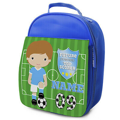 Personalised FOOTBALL Lunch Bag Boys Children School Nursery Box - ANY TEAM KF11