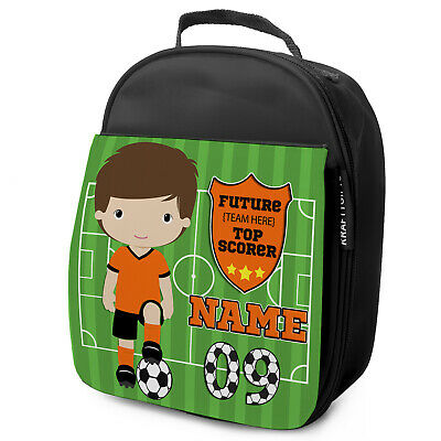 Personalised FOOTBALL Lunch Bag Boys Children School Nursery Box - ANY TEAM KF16