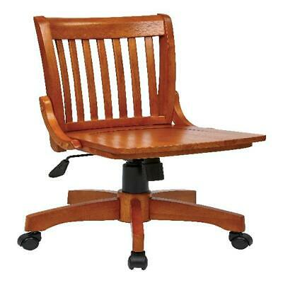 Deluxe Armless Wood Bankers Chair Fruit Wood 25w x 23d x 35.75h NEW