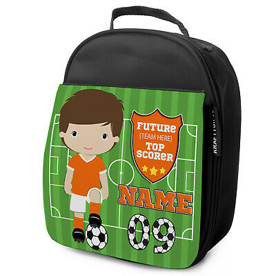 Personalised FOOTBALL Lunch Bag Boys Children School Nursery Box - ANY TEAM KF15