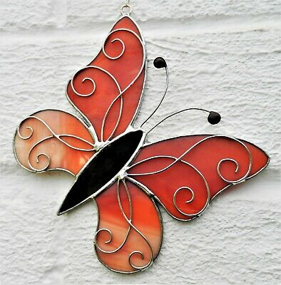Hand crafted stained glass sun catcher. Filigree Butterfly
