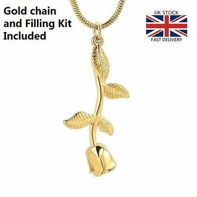 Gold Rose Flower Jewellery Cremation Urn Pendant Ashes Necklace Funeral Memorial