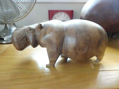 Solid wood carved Hippo vintage from Zimbabwe