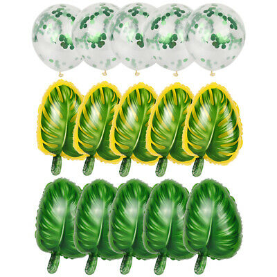 Tropical Hawaii Palm Leaf Foil Balloons Confetti Birthday Party Decor Supplies