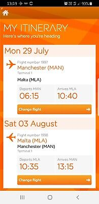 Single return Easyjet flight to Malta from Manchester Airport