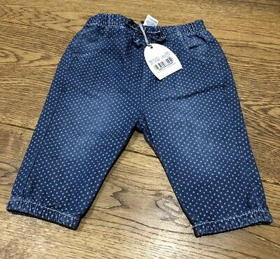Baby Girls Denim Trousers Jeans. Up To 3 Months. Brand New With Tags