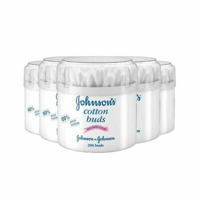 6 x JOHNSON'S PURE COTTON BUDS ORIGINAL 200's WHITE STICKS JOHNSON & JOHNSON