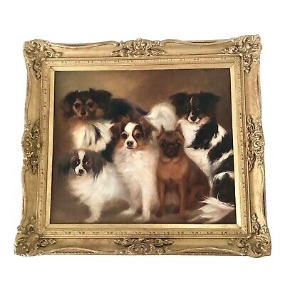 English 19th C. Spaniels and Pug Dog Portrait, Oil on Canvas