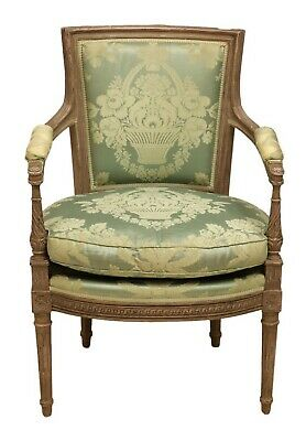 Antique French Louis XVI Style Fauteuil Armchair | Damask Silk | 19th c.
