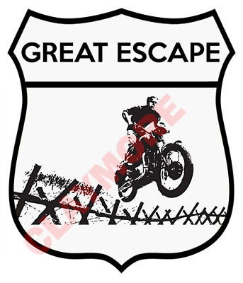 Steve Mcqueen car motorcycle sticker great escape pow Stalag Luft Air Force
