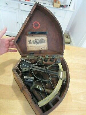 Antique C Plath Sextant , Complete Brass and Mahogany Case T.S. & J.D. Negus