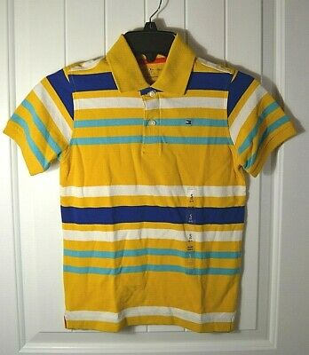 Nwt Boys Tommy Hilfiger Yellow  Striped Short Sleeve Rugby Polo T Shirt Sz S