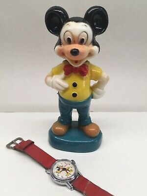 Vintage 1960s Ingersoll Mickey Mouse Wrist Watch and Statue Disney US Time Works