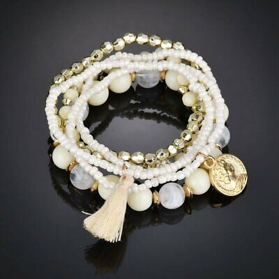 6Pcs/Set Fashion Boho Multilayer Beads  Bracelet Women Ladies Charm Gift Party