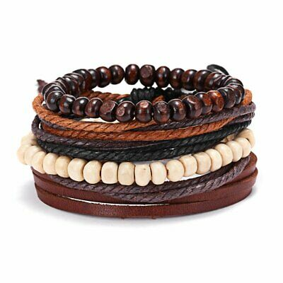 4pcs/Set Men Punk Multilayer Leather Beaded Bracelet Braided Bangle Wristband
