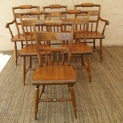 (6) Vtg Hitchcock Roll Back Chairs Stenciled Floral Solid Maple
