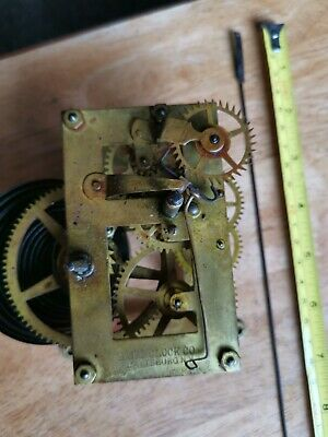 Antique american wall clock Parts Movement Baird plattsburg working  1840s