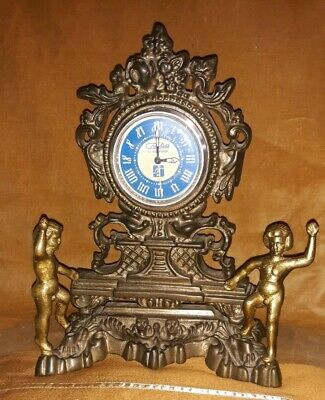 VTG Gold Metal Mantle Clock Gilted Children Playing Ornate Metal Mantle French