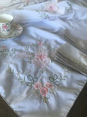 Vintage Peach And Green Floral Embroidered Tablecloth With Napkins