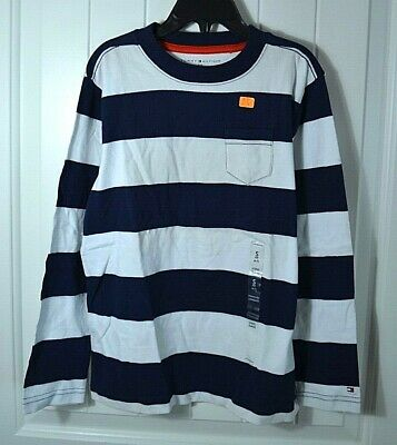 New Boys Tommy Hilfiger Blue White Striped Short Sleeve Rugby Polo T Shirt Sz S