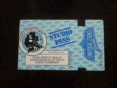 Vintage Universal Studios Studio Pass (Still Valid From The Year 1990) 2PRK 1DAY