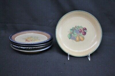 "Scarce 5 Monroe Salt Works Hand Crafted Fruit Pattern 8"" Luncheon Plates; Mint"
