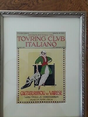 Touring Club Italiano Framed Advertisement From 1915 Calzaturifico di Varese