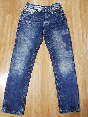Next Boys Acid Wash Jeans Age 11 Years Blue Denim Trousers Adjustable Waist