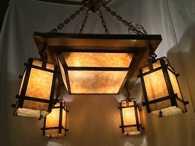 Antique 1910s Arts & Crafts Slag Glass Chandelier Stained Glass Mission Fixture