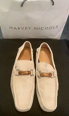 0c9493721 Mens Gucci Beige Suede Bamboo Loafers Moccasins Slip On Shoes Eu 44 Size Uk  10