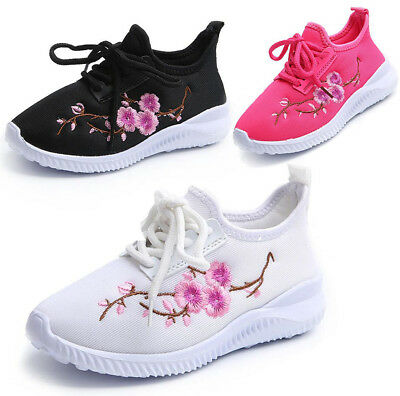 Toddler Kids Girls Boys Retro Floral Flats Casual Sports Trainers Running Shoes