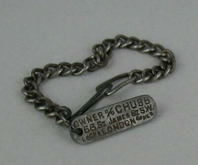 Antique Chubb 5/- Reward Tag Original Chain 68 St James St. London - Key Ring